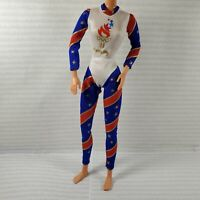 BODYSUIT ~ MATTEL BARBIE DOLL 1996 OLYMPIC GYMNAST RED WHITE BLUE SUIT ACCESSORY