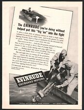 1943 EVINRUDE Outboard Motor AD WWII US Navy Sailors War Boat