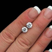 3 Ct Solid 14K White Gold Basket Round Brilliant Cut Solitaire Earrings Studs