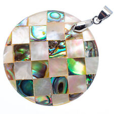 "Mother of Pearl Natural Abalone Sea Shell Round Pendant 1 1/2"" Jewelry #04-Z"