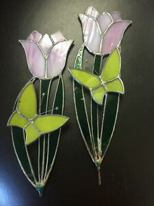 Stained Glass Tulip Flower Plant Decoration Vintage