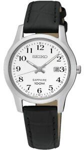Seiko Ladies Sapphire Leather Strap Date Watch SXDG91P1 OS SQNP