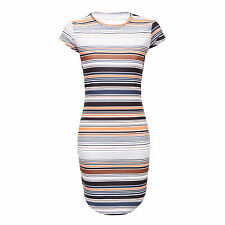 Unbranded Round Neck Short Sleeve Striped Dresses for Women