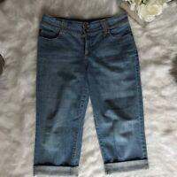 Nine West -Size 8- Women's Blue Capri Crop Stretch Jeans Mid Rise Medium Wash