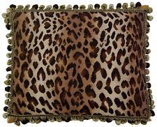 "16"" x 20"" Handmade Wool Needlepoint Petit Point Leopard Animal Print Pillow"