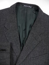 GIORGIO ARMANI MENS 56 46 R BLAZER JACKET TWEED WOOL CASHMERE CHEVRON GREY ITALY