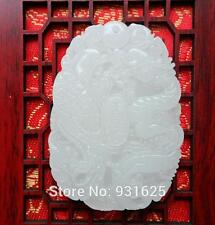 Beautiful Natural White Afghan jade  Carved Dragon Phoenix Lucky Amulet Pendant