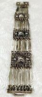 "Vintage Taxco Bracelet Sterling Silver 925 Mexico Silver Panel Link 7.5"" Signed"