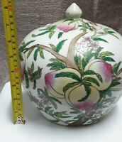Vintage Antique Porcelain Chinese Ginger Jar Hand Painted Peaches Tongzhi mark