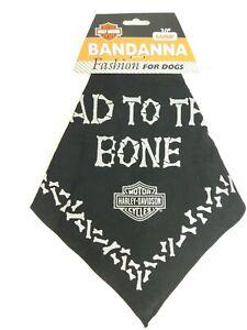 "Harley Davidson Large 30"" Dog Bandana Black Glitter Silver Bad to the Bone New"