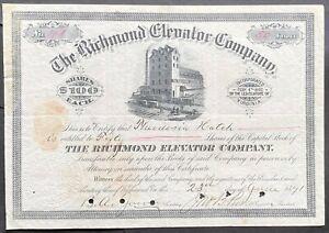 RICHMOND ELEVATOR CO. Stock 1891. Richmond, VA. James River Grain. J.B. Purcell