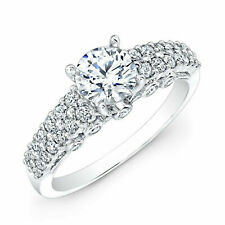 Solitaire 1.07 Carat Diamond Engagement Ring 18K Solid White Gold Size 5 6 7.5 8