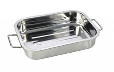 Stainless Steel Oven Roasting Cooking Baking Tray Dish 25 x 18cm - Heavy Duty