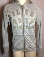 NWT $68 Silver Jean Company Hoodie Taupe Lace Inserts Fits Size Small