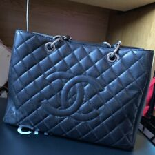 CHANEL Black Quilted Caviar GST Grand Shopping Tote Bag