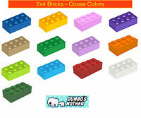 You Pick 2x4 Plates Black Blue Brown Gray Green Purple Red NEW LEGO PARTS