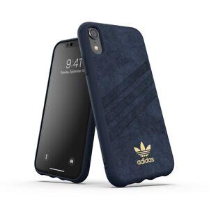 Genuine Adidas 3-Stripe Ultrasuede Blue Snap Case For iPhone XR