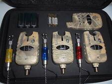 3 x TMC Wireless bite alarms + receiver + illuminated chains, Run LED, Carp,Camo