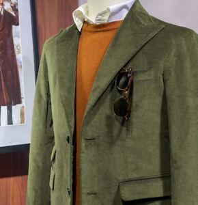 Men's Vintage Classic Corduroy Blazer Jacket Peak Lapel Sport Leisure Suit Coat