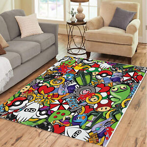 Pokemon Cartoons Rug Colorful Printed Carpets Pattern Rug for living room Floor
