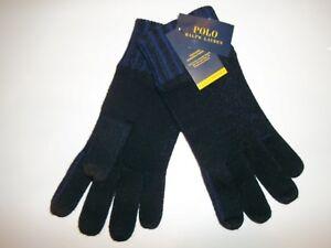 Polo RALPH LAUREN Wool Blend TOUCHSCREEN Blue Knit TECH GLOVES Mens One Size NEW