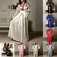 Women Satin Babydoll Long Nightdress Silk Lace Lingerie Nightgown Sleepwear Robe