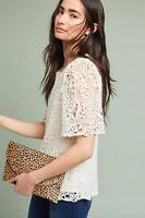 Anthropologie Eri + Ali Suzy white lace crochet short sleeve blouse size Large