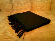 Vintage Italy The Gap 100% Lambswool Black w Gray Specs Scarf with Fringe