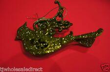 NEW Holiday ! Christmas Decoration Green Sparkle Bird Ornament