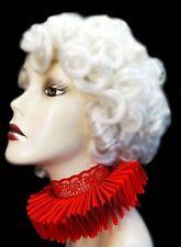 Red Satin Lace Elizabethan Neck Ruff Ruffled Collar Victorian Steampunk Queen