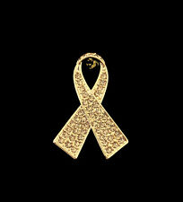 CRYSTAL GOLD RIBBON BOW CHILDREN CHILD CHILDHOOD CANCER AWARENESS BROOCH PIN