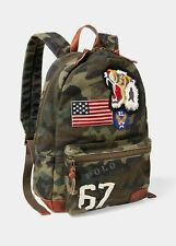 Polo Ralph Lauren Mens Lionhead Dome Camouflage Canvas Backpack | Leather Tiger