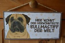 Türschild Tierschild Schild Tafel Holzschild Deko Bild Wandbild Bullmastiff Hund