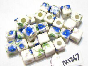Porcelain Handmade Printed Beads WHITE w/ BLUE, GREEN 10mm Lot of 20 M1267