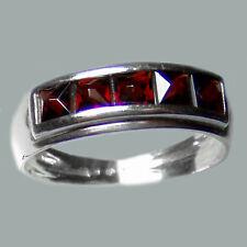 Size 6.25 Bohemian Pyramid Cut Garnet Sterling Silver Ring # SR-300 Jew.-Certif.