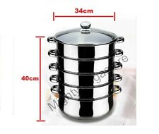 5 Tier Stainless Steel Steamer - INDUCTION friendly Cookware 34cm 36cm 38cm 40cm