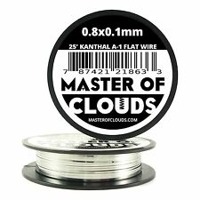 25 ft - 0.8 X 0.1 mm Flat Ribbon Kanthal A-1 Resistance Wire Spool A1 25' Roll