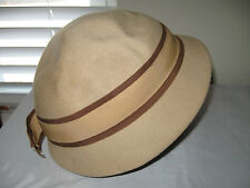 Vintage Womens Beige  Merrimac Hat Co 100% Wool Hat 22""