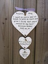Handmade Personalised Plaque Sign Will You Be My Godmother Godparent Gift