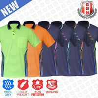 HI VIS POLO SHIRT NEW PANEL DESIGN WORK WEAR COOL DRY SHORT SLEEVE