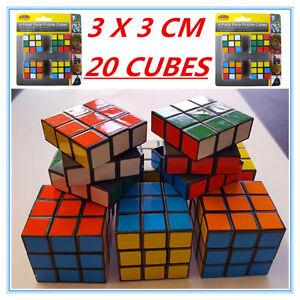 20 x Mini Colourful Puzzle Magic Cubes 3X3 Birthday Gift Kid Adult Fun Twist Toy