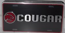 MERCURY COUGAR ALUMINUM LICENSE PLATE BLACK-SILVER-RED MADE IN USA FORD LINCOLN