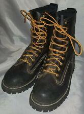 Men's  Hoffman's Kellogg ID Work Boots Black Leather Soft Toe Size 7.5 D
