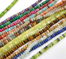 Matte Rondelle 2x4 mm Perlen Jade Jaspis Lapis Edelsteine, 1 Strang *BACATUS*