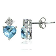 Sterling Silver Blue Topaz and Diamond Accent Heart Drop Stud Earrings
