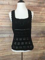 Caslon Black Sleeveless Crochet Top (Size M)