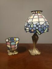 Partylite HydrangeaTealight Lamp Tiffany Stained Glass Style Mosaic Votive