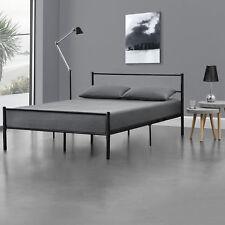 Lit en Métal 140x200 Noir Châlit Lit Design Chambre à Coucher Métal