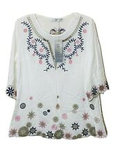 NWT Anthropology SOLITAIRE Embroidered Ethnic Peasant Boho Blouse Tops Sz Small