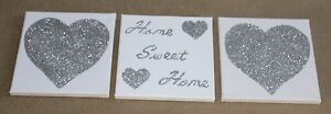 Set of 3 White & Silver Glitter Home Sweet Home / Heart Canvas Wall Art Picture